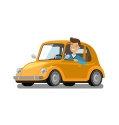 Happy male driver rides car driving trip taxi vector
