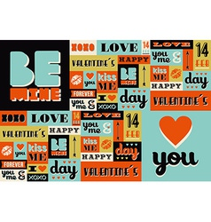 Happy Valentines Day retro vintage pattern vector image