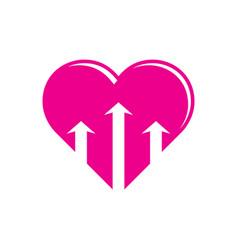 heart love arrow business logo vector image
