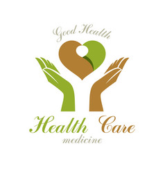 heart shape composed with green leaves and caring vector image