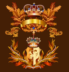 heraldic design with crowns and coat arms vector image