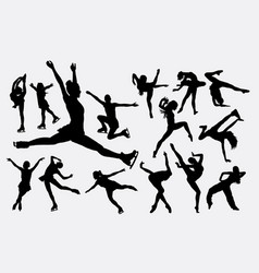 ice skating female sport playing silhouette vector image