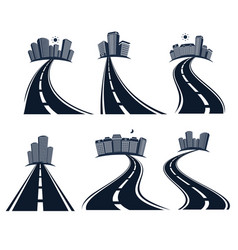 isolated highway road with dividing marking vector image