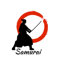 japanese samurai warriors silhouette vector image