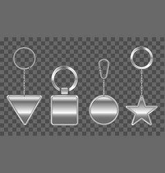 keychains set metal round square triangle star vector image