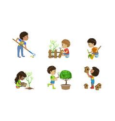 kids volunteers set cute children working in vector image
