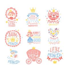Little princess set of prints for infant girls vector
