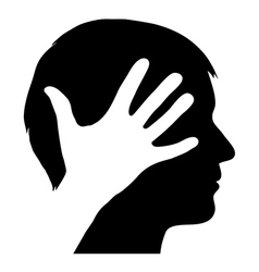Male silhouette with hand vector image