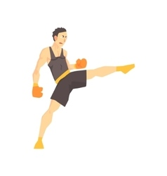 Man In Boxing Gloves And Black Uniform Kickboxing vector