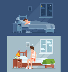 Man sleeping under duvet at night waking up vector