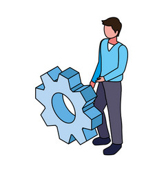 Man with gearwheel on white background vector