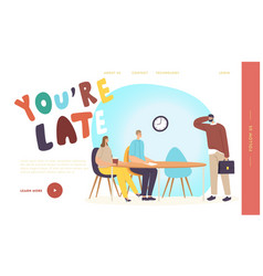 Manager being too late on meeting landing page vector