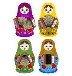 Matryoshka with an accordion vector image