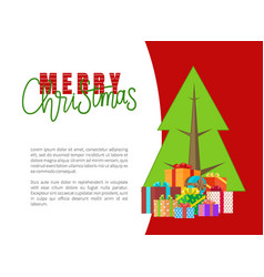 merry christmas greeting cards with presents fir vector image