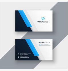 Minimal blue business card design template vector