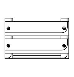 Monochrome silhouette of wooden box in closeup vector