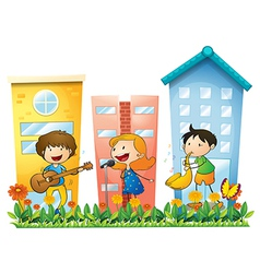 Musicians performing near the buildings vector