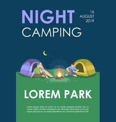 night camping brochure template nature recreation vector image
