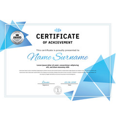 Official white certificate with blue triangle vector