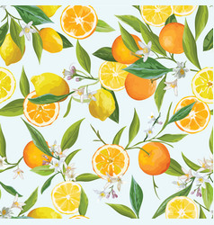 Orange and lemon seamless tropical pattern vector
