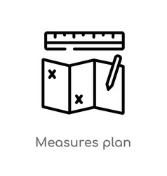 Outline measures plan icon isolated black simple vector