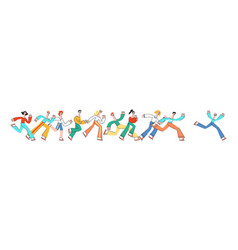 people running horizontal banner in flat style vector image