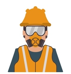 person wearing gas mask and helmet icon vector image