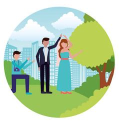 photographer with wedding couple day vector image
