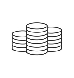 pile coins line icon vector image