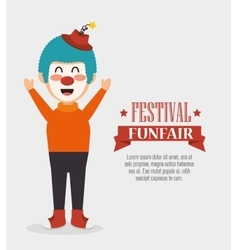 Poster funny clown festival funfair vector