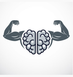 Power brain emblem genius concept design of human vector