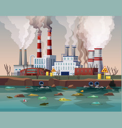 Power plant air pollution or industry factory vector