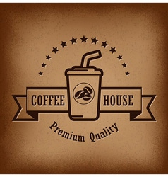 Premium coffee label over vintage background vector image