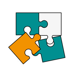 puzzle pieces symbol vector image