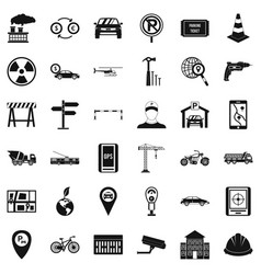 Radio taxi icons set simple style vector