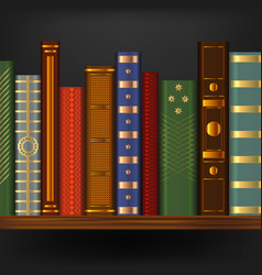 realistic 3d detailed vintage old books on shelf vector image