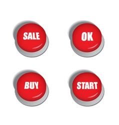 Red buttons with signs - sale buy ok and start vector image