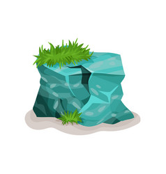 Rock stone with gass design element of natural vector
