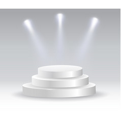 round podium illuminated by spotlights vector image vector image
