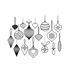 set christmas tree toys hanging vector image
