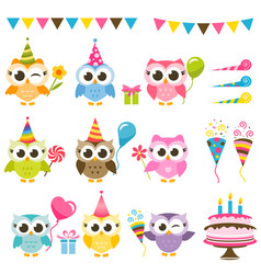 Set cute owls with birthday elements vector