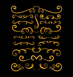 Set of gold textured hand drawn vignettes vector