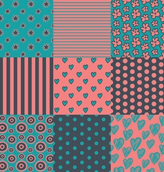 Set of nine simply seamless patterns vector