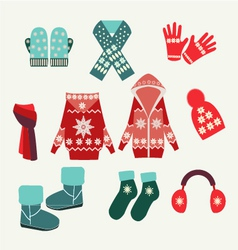 Set of winter clothing vector