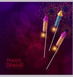 Shiny diwali crackers firework celebration vector