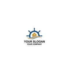 Ships wheel home logo design vector