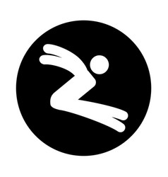 Silhouette of athlete practicing long jump vector