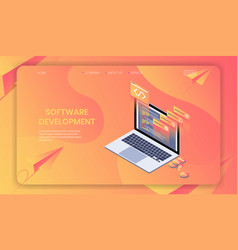 software development isometric concept web vector image