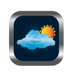 Square button with relief and cloud and sun vector