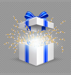 surprise box opening gift box with blue silk vector image